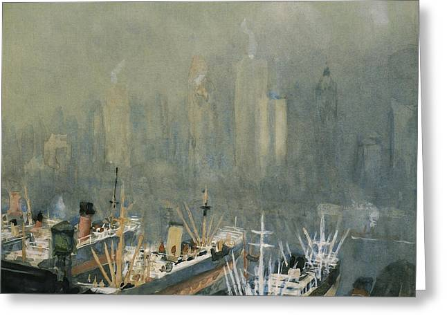 Manhattan Drawings Greeting Cards - Brooklyn Harbor circa 1921  Greeting Card by Aged Pixel