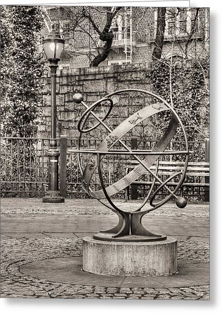 Brooklyn Promenade Greeting Cards - Brooklyn Heights BW Greeting Card by JC Findley