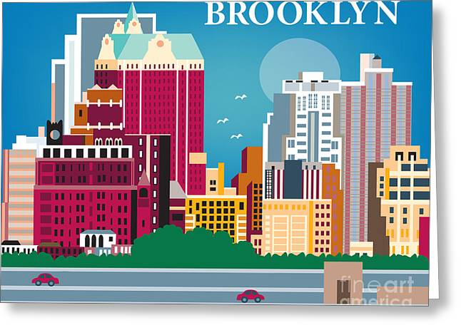 Height Greeting Cards - Brooklyn Heights Greeting Card by Karen Young