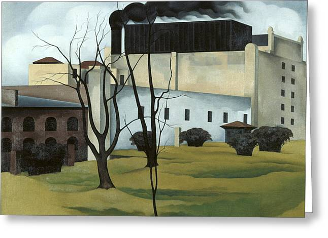 Red Buildings Greeting Cards - Brooklyn Ice House Greeting Card by George Ault