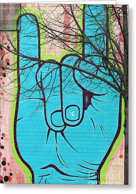 Mural Mixed Media Greeting Cards - Brooklyn Love Sign Language Greeting Card by Anahi DeCanio - ArtyZen Studios