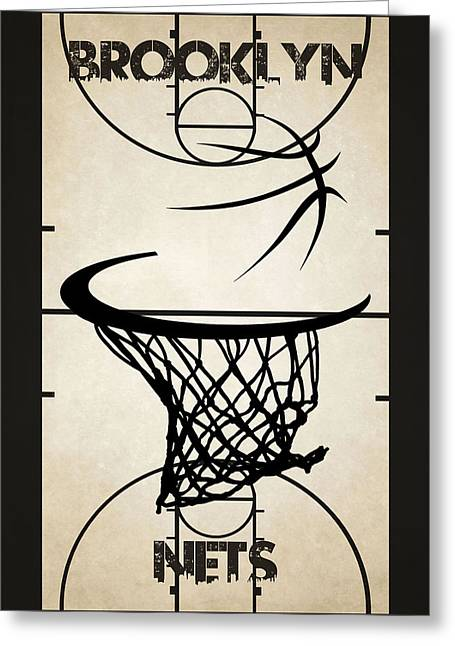 Dunk Greeting Cards - Brooklyn Nets Court Greeting Card by Joe Hamilton