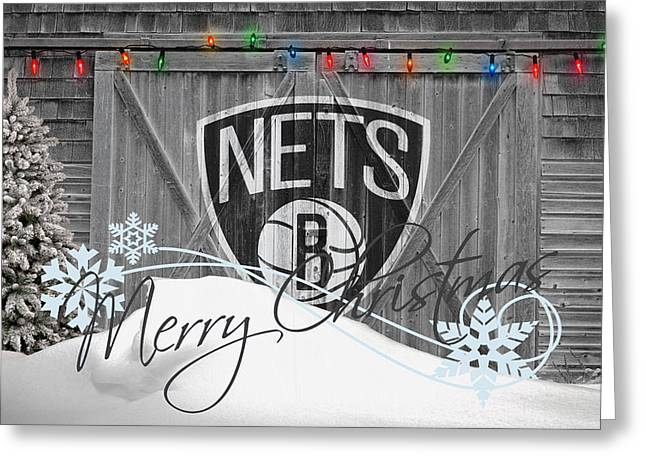 Dunk Greeting Cards - Brooklyn Nets Greeting Card by Joe Hamilton