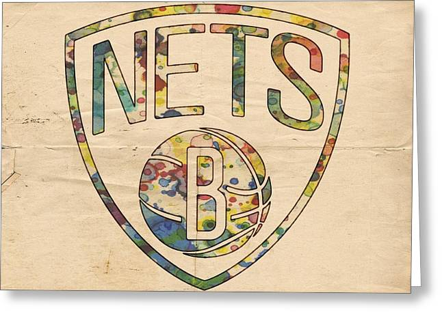 Slamdunk Digital Greeting Cards - Brooklyn Nets Logo Art Greeting Card by Florian Rodarte