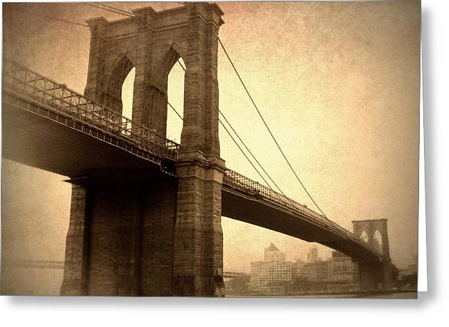 Famous Bridge Greeting Cards - Brooklyn Nostalgia II Greeting Card by Jessica Jenney