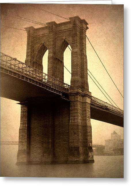 Famous Bridge Greeting Cards - Brooklyn Nostalgia Greeting Card by Jessica Jenney