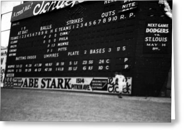 Scoreboard Greeting Cards - Brooklyn Scoreboard Greeting Card by Retro Images Archive