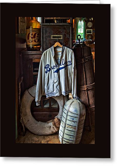 Gift Ideas For Him Greeting Cards - Brooklyn Dodgers Baseball Jacket Greeting Card by Thom Zehrfeld