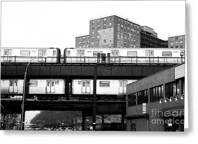 White Decor Posters Greeting Cards - Brooklyn Trains Greeting Card by John Rizzuto