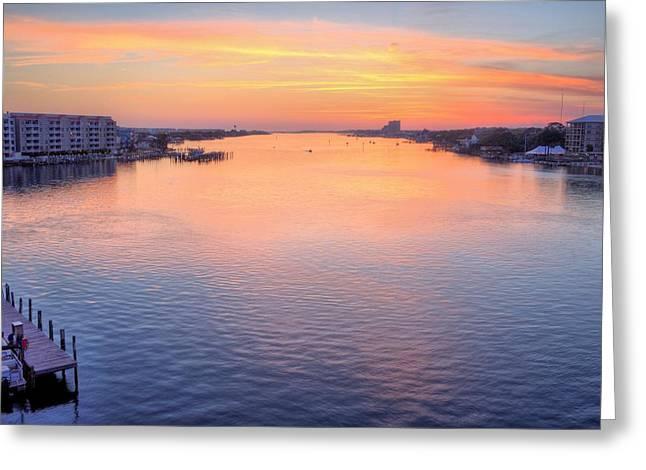 Florida Panhandle Greeting Cards - Brooks Bridge Sunset Greeting Card by JC Findley