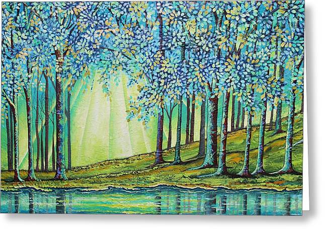 Brook Mixed Media Greeting Cards - Brookside  Greeting Card by Peggy Davis