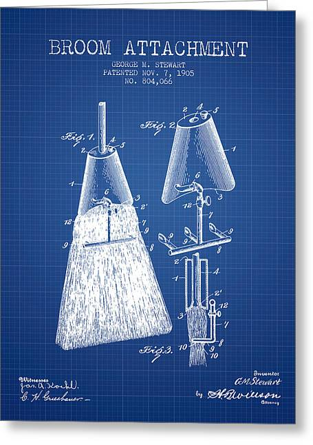 Broom Greeting Cards - Broom Attachment Patent from 1905 - Blueprint Greeting Card by Aged Pixel