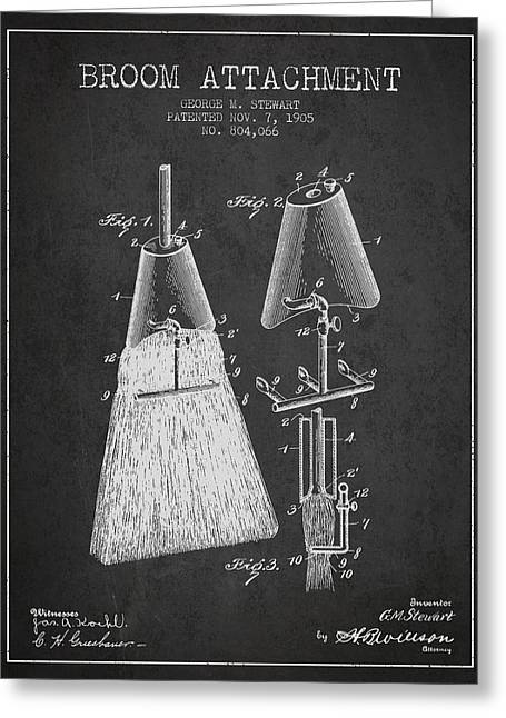 Broom Greeting Cards - Broom Attachment Patent from 1905 - Charcoal Greeting Card by Aged Pixel
