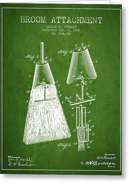 Broom Greeting Cards - Broom Attachment Patent from 1905 - Green Greeting Card by Aged Pixel