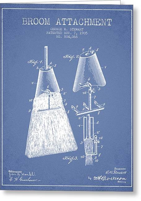 Broom Greeting Cards - Broom Attachment Patent from 1905 - Light Blue Greeting Card by Aged Pixel