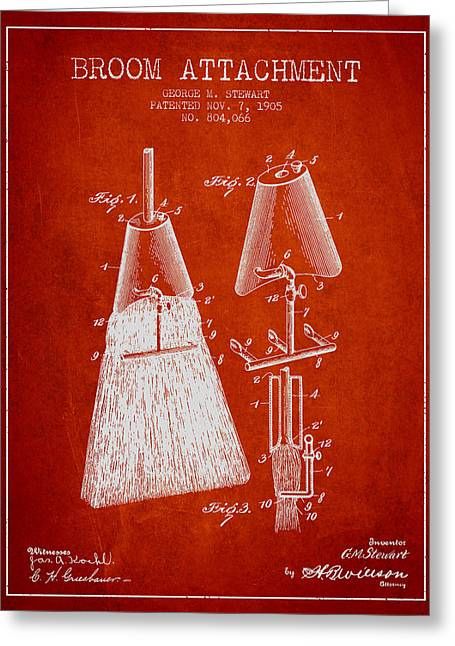 Broom Greeting Cards - Broom Attachment Patent from 1905 - Red Greeting Card by Aged Pixel