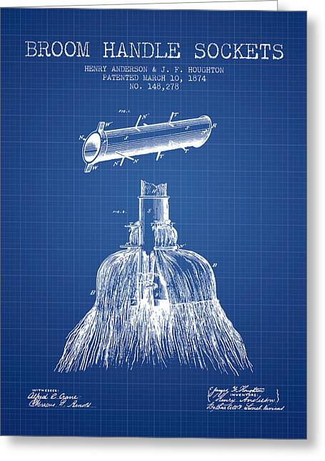 Broom Greeting Cards - Broom Handle Sockets Patent from 1874 - Blueprint Greeting Card by Aged Pixel