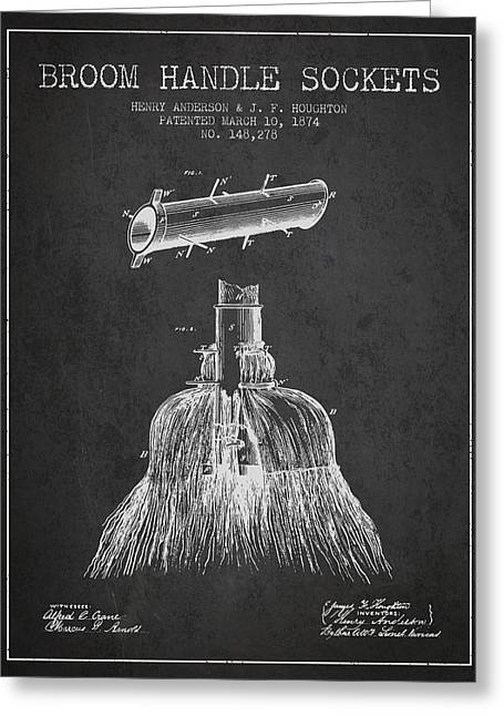 Broom Greeting Cards - Broom Handle Sockets Patent from 1874 - Charcoal Greeting Card by Aged Pixel