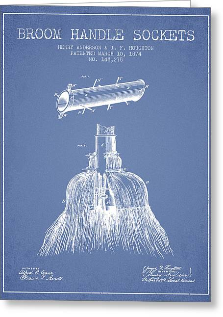 Broom Greeting Cards - Broom Handle Sockets Patent from 1874 - Light Blue Greeting Card by Aged Pixel