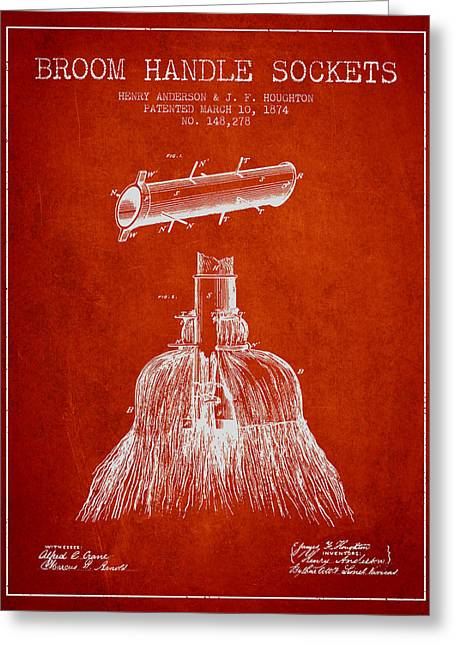 Broom Greeting Cards - Broom Handle Sockets Patent from 1874 - Red Greeting Card by Aged Pixel