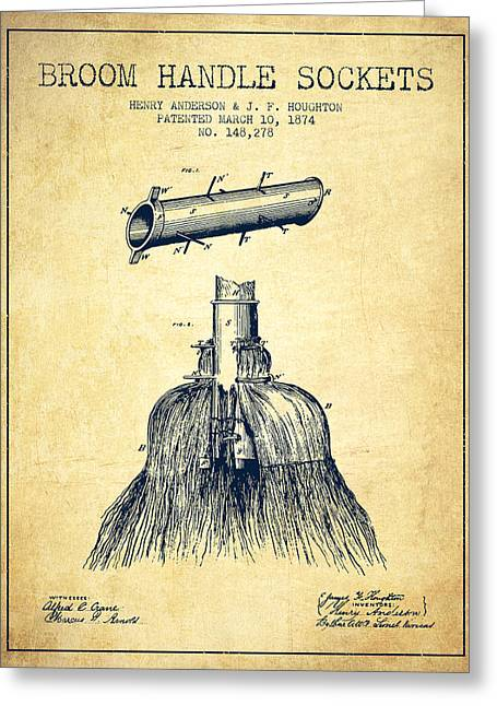 Broom Greeting Cards - Broom Handle Sockets Patent from 1874 - Vintage Greeting Card by Aged Pixel