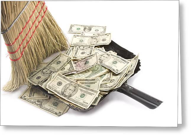 Business Greeting Cards - Broom Sweeping Up American Currency Greeting Card by Keith Webber Jr
