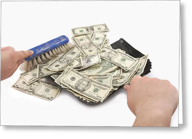 Business Greeting Cards - Broom Sweeping Up American Money Greeting Card by Keith Webber Jr