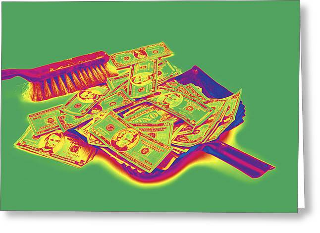 Business Greeting Cards - Broom Sweeping Up American Money Pop Art Greeting Card by Keith Webber Jr