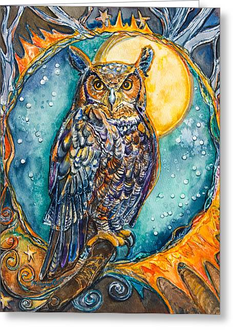 Patricia Mixed Media Greeting Cards - Brother Owl Greeting Card by Patricia Allingham Carlson