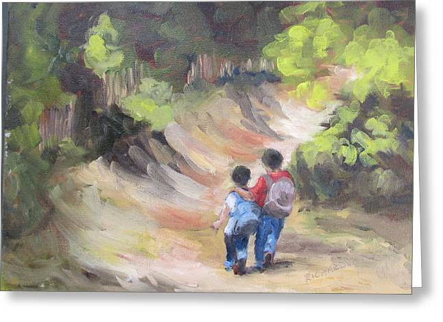 First Love Greeting Cards - Brotherly Love Greeting Card by Susan Richardson