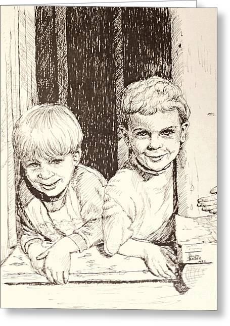 Pen And Ink Framed Prints Greeting Cards - Brothers Greeting Card by Art By - Ti   Tolpo Bader