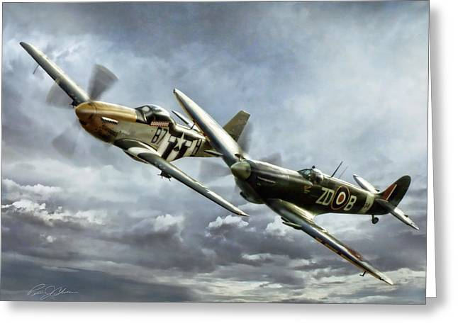 Supermarine Greeting Cards - Brothers In Arms 2 Greeting Card by Peter Chilelli