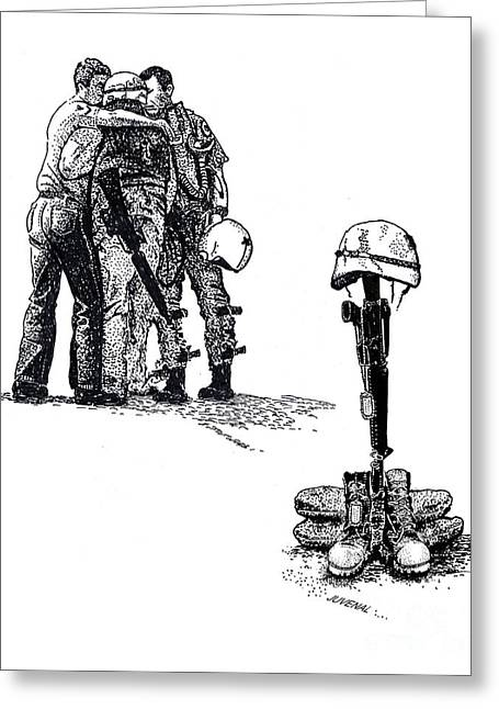 Memorial Day Drawings Greeting Cards - Brothers in Arms Greeting Card by Joseph Juvenal