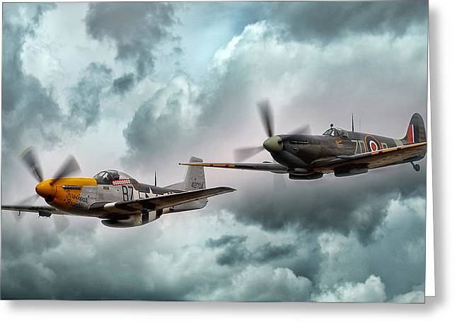 Military Planes Greeting Cards - Brothers In Arms Greeting Card by Peter Chilelli
