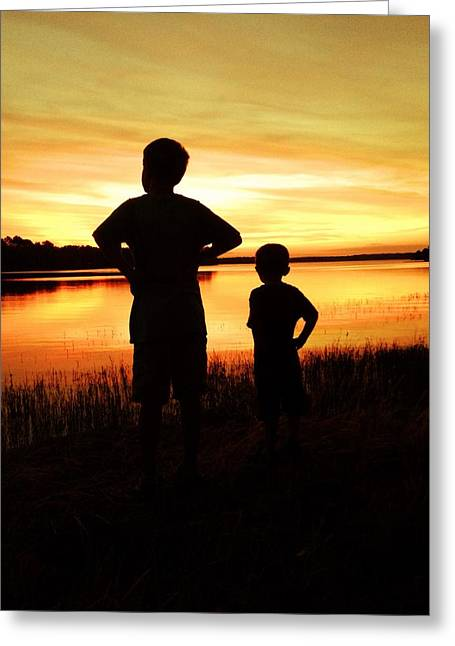 Toledo Bend Greeting Cards - Brothers Sunset  Greeting Card by Victoria  Smith