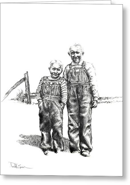 Photos Of Indiana Drawings Greeting Cards - Brothers Greeting Card by Todd Spaur