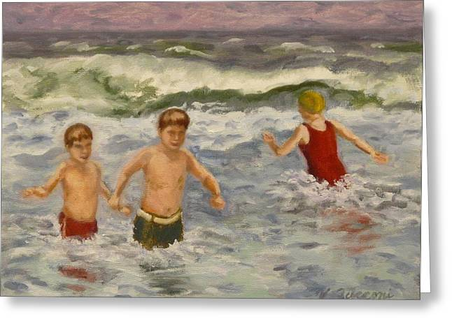 Boy Meets Girl Greeting Cards - Brothers Greeting Card by Victor Zucconi