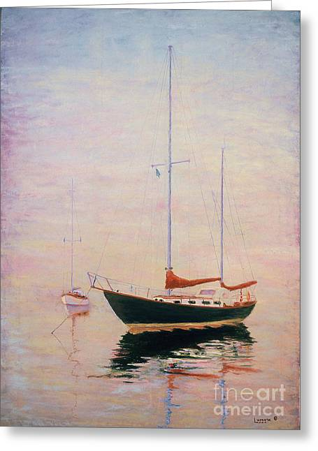 Boats In Harbor Pastels Greeting Cards - Brothers Greeting Card by William Lurcott