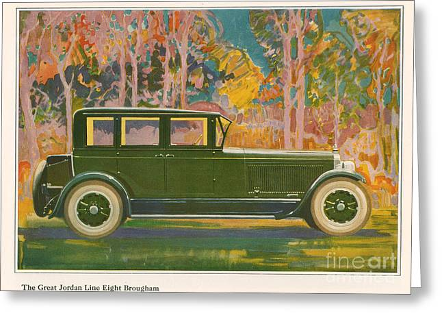 American Automobiles Greeting Cards - Brougham Car 1925 1920s Usa Cc Cars Greeting Card by The Advertising Archives