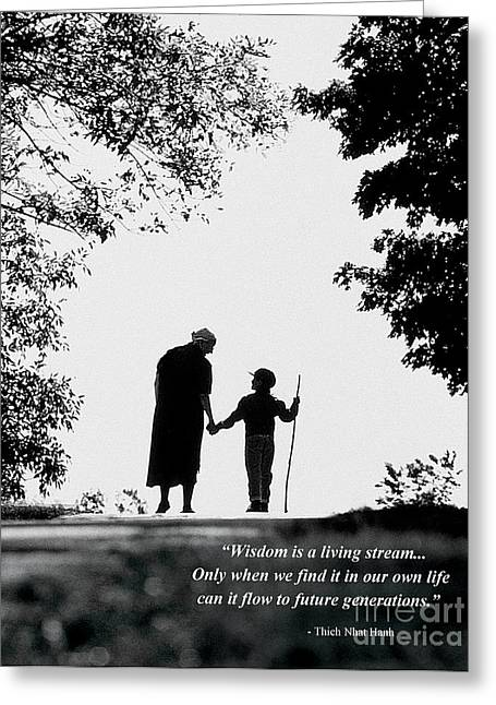 Brow Chakra Greeting Cards - Brow Chakra - Grandmother and Child - quote Greeting Card by Mark Avery