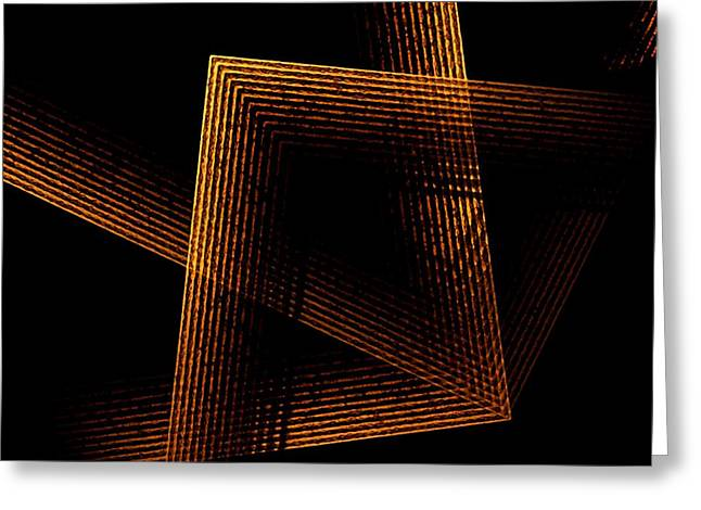 Transparency Geometric Greeting Cards - Brown and Black in Lines Greeting Card by Mario  Perez