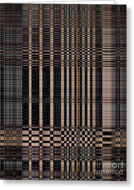 Rectangles Greeting Cards - Brown and black strip abstract background Greeting Card by Ammar Mas-oo-di