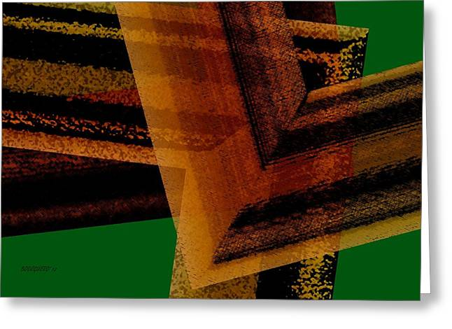 Transparency Geometric Greeting Cards - Brown and Green Art Greeting Card by Mario  Perez
