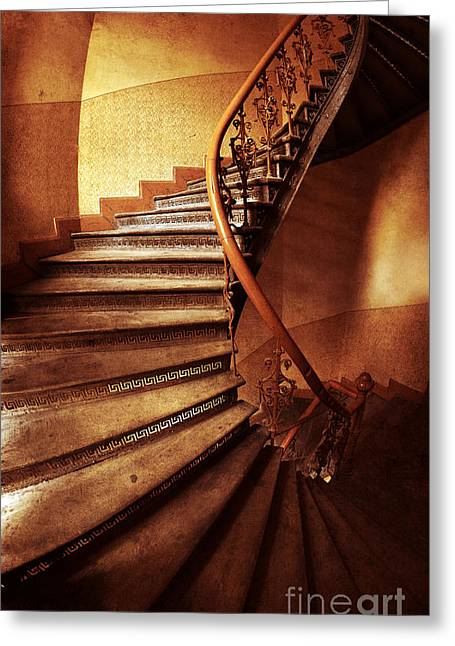 Empty Inside Greeting Cards - Brown and orange spiral staircase Greeting Card by Jaroslaw Blaminsky