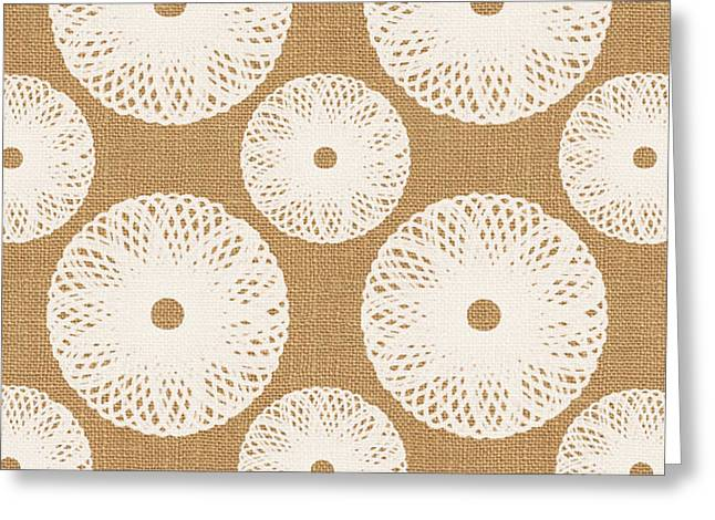 Floral Patterned Greeting Cards - Brown and White Floral Greeting Card by Linda Woods