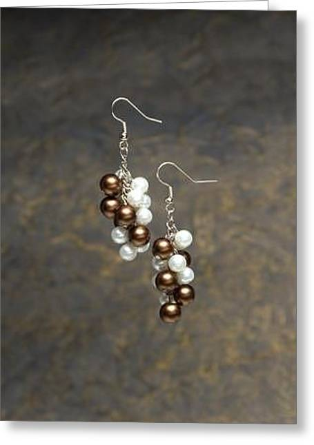 White Jewelry Greeting Cards - Brown and White Pearl Cluster Earrings Greeting Card by Kimberly Johnson