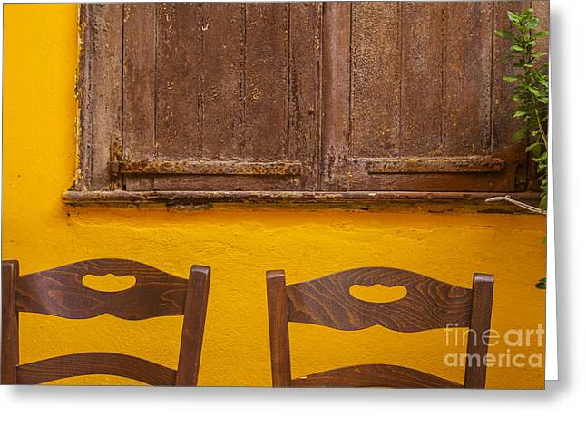 Bright. Table Greeting Cards - Brown and yellow in Greece Greeting Card by Patricia Hofmeester