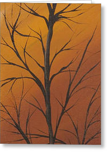 Landscape Posters Greeting Cards - Brown autumn Greeting Card by Roni Ruth Palmer