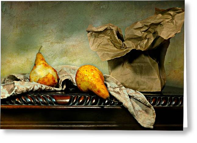 Brown Paper Bag Greeting Cards - Brown Bag Pears Greeting Card by Diana Angstadt