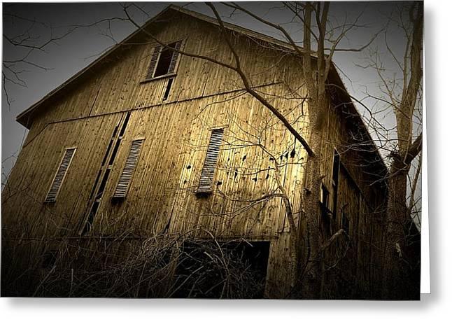 Barn Storm Greeting Cards - Brown Barn Greeting Card by Michael L Kimble